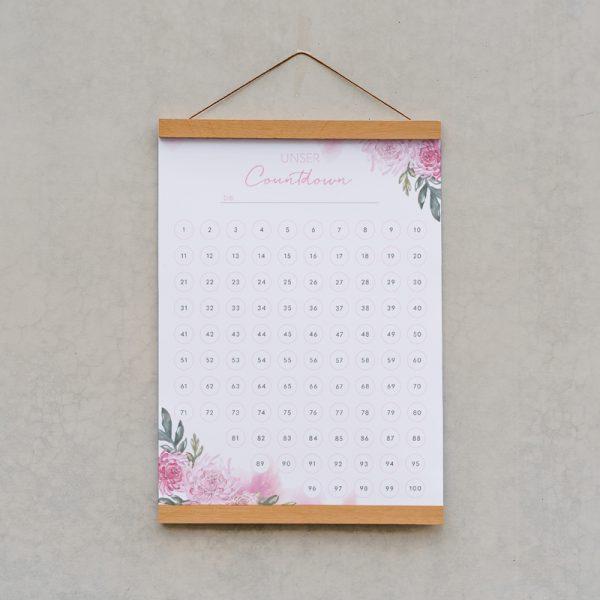 Countdown_A3_Watercolour_Blumen_Hochzeit_Baby_Geburtstag