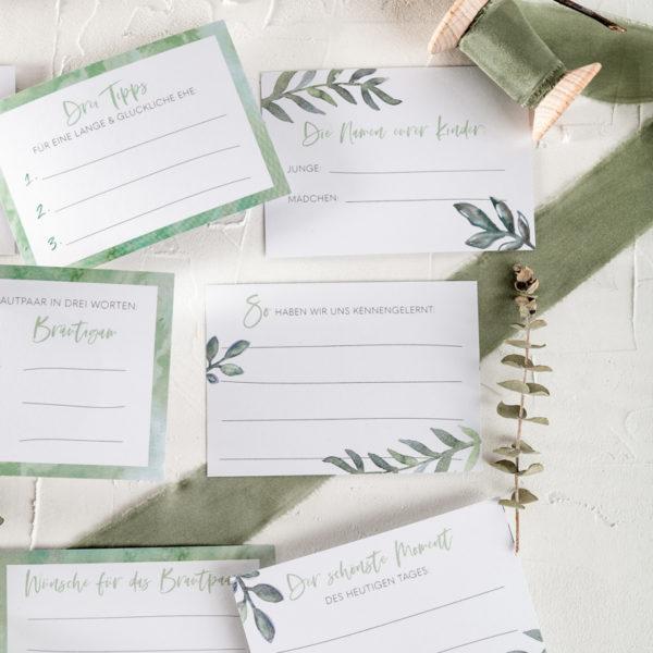 Fragekarten zum Ausfüllen DIY Gästebuch Greenery