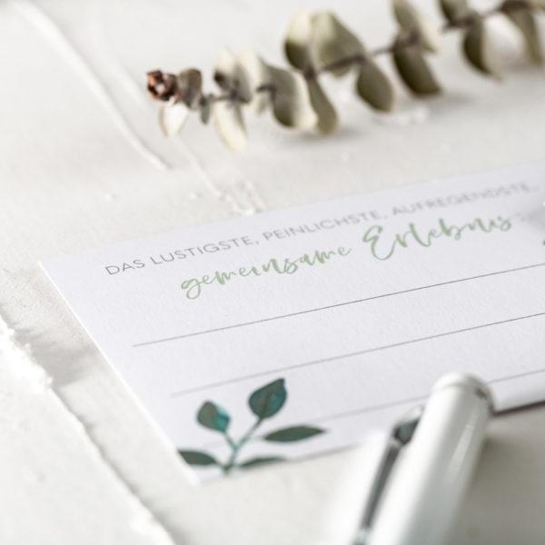 Fragekarten zum Ausfüllen DIY Gästebuch Greenery Eukalyptus