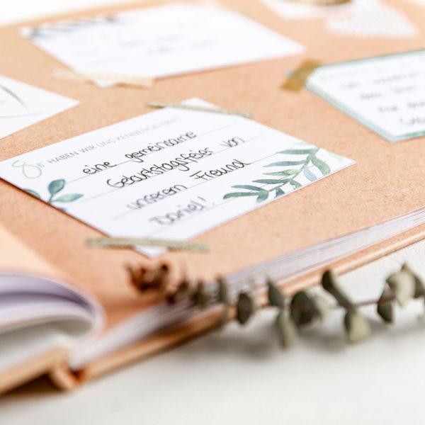 Gästebuch mit Fragen zum Ausfüllen Fragekarten Kraftpapier