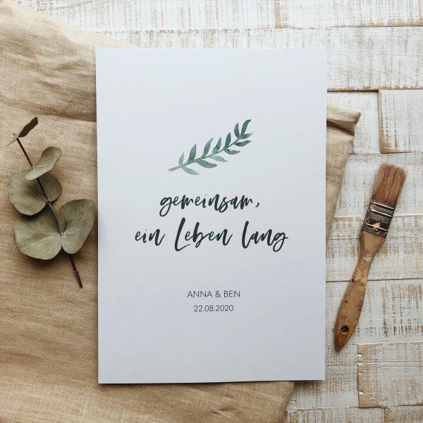 Geschenk zur Hochzeit – Hochzeitsposter personalisiert mit Namen Brautpaar