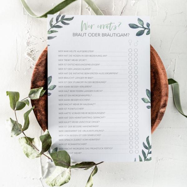 Hochzeitsspiel Ratespiel Hochzeit Karten zum Ausfüllen Greenery Eukalyptus