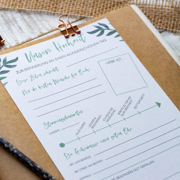 Hochzeit Gästebuch Fragekarten zum Ausfüllen