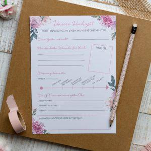 Hochzeit Gästebuch Gästebuch Hochzeit Fragekarten zum Ausfüllen