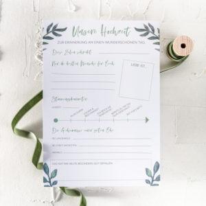 Gästebuch Hochzeit Fragekarten zum Ausfüllen Eukalyptus