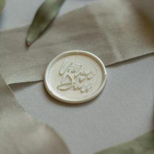 Siegel Vielen Dank in Weiß auf Seidenband