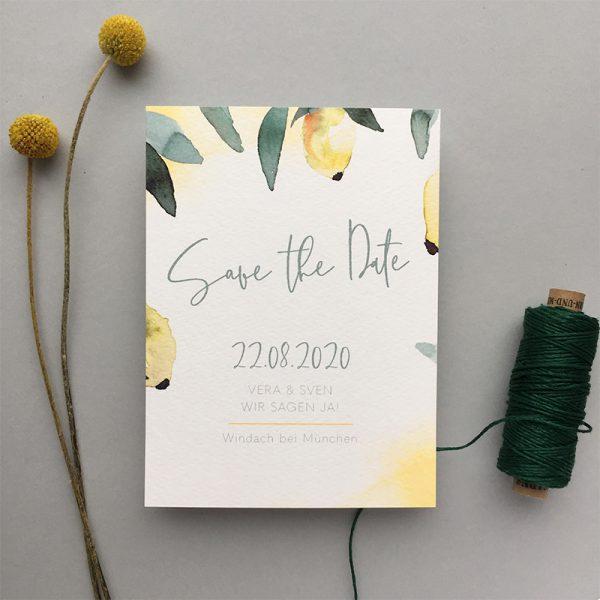 mediterrane Hochzeit Save the Date Lemon Love