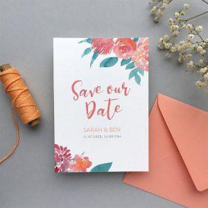 Save the Date Karte mit Umschlag, Blumen udn Garnrolle