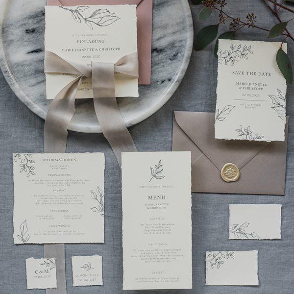 edle Hochzeitspapeterie Set