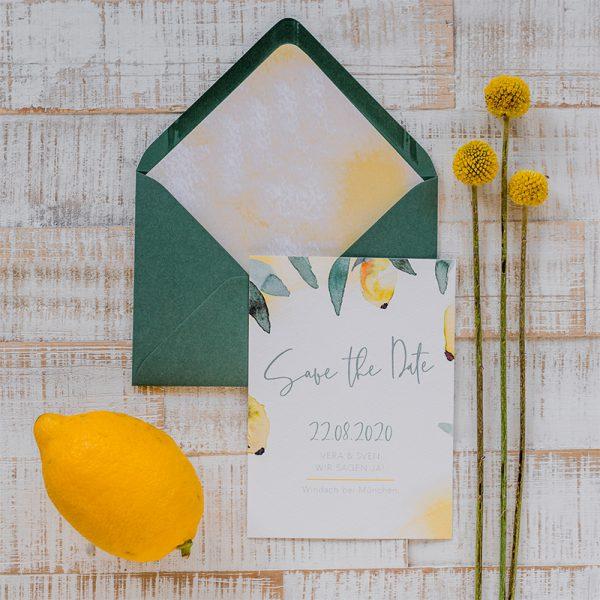 mediterrane Hochzeit Save the Date Karte mit Kuvert und Ztitrone