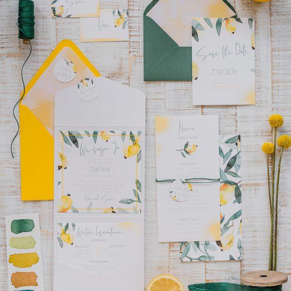 mediterrane Hochzeitspapeterie Set Lemon Love