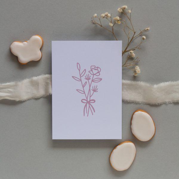 Karte Ostern mit rosa Blumenstrauß
