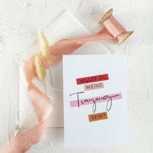 Postkarte Trauzeugin Überraschung Frage Willst du meine Trauzeigin sein2