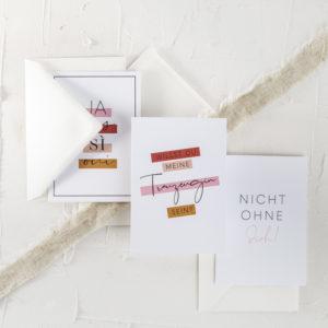Postkartenset Hochzeit Trauzeugin Brautjungfer wir heiraten