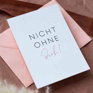 Brautjunger Karte liegt auf rosa Kuvert