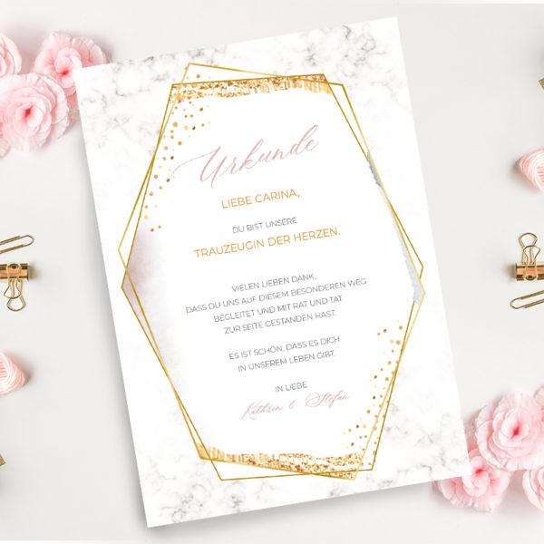 Urkunde Trauzeugen mit rosa Blumen
