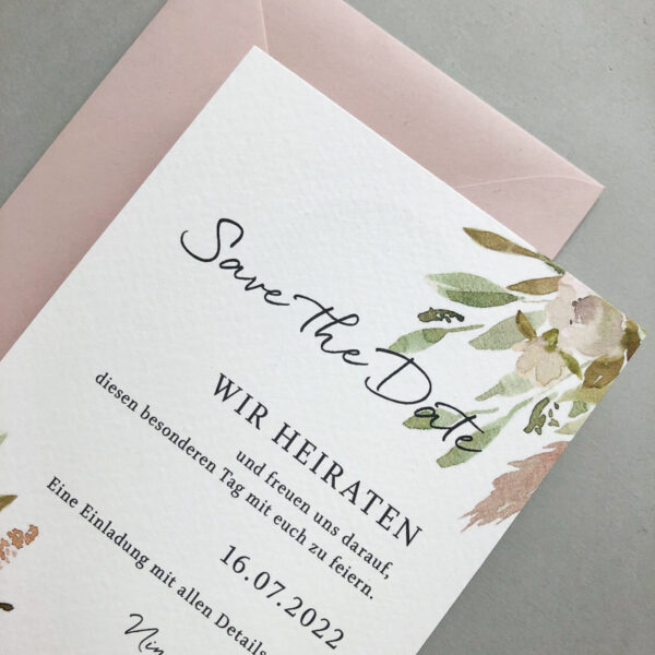 Save the Date Karte mit Watercolour Blumen rosa Papeterie München farbgold