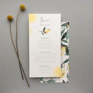 Menükarte Hochzeit Italien Zitronen