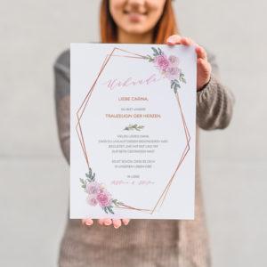 Urkunde Trauzeugen rosa Blumen
