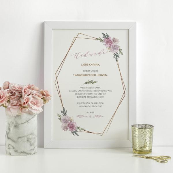Urkunde Trauzeugen mit rosa Blumen in weißem Rahmen