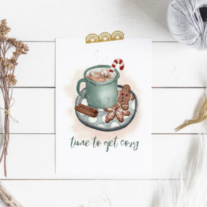 Kartenset Weihnachten Punschtasse und Lebkuchenmann