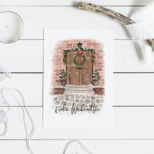 Kartenset Weihnachtstür