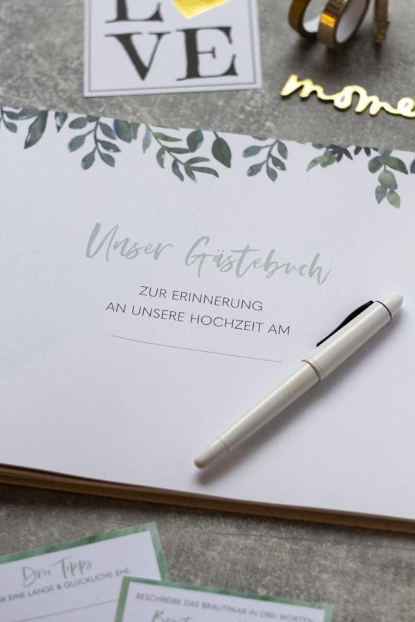 Gästebuch Greenery zum Ausfüllen