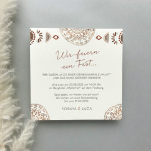 Einladungskarte im Boho Design