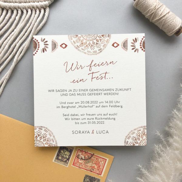 Einladungskarte Boho Design