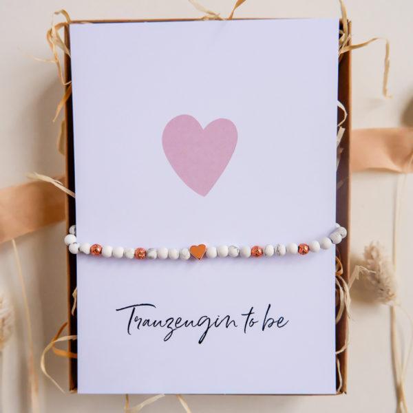 Trauzgeugin Armband mit Postkarte in Geschenkbox