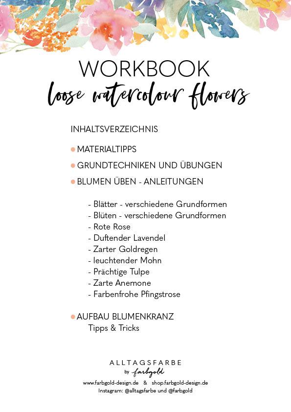 losse watercolour Flowers Workbook Inhaltsverzeichnis