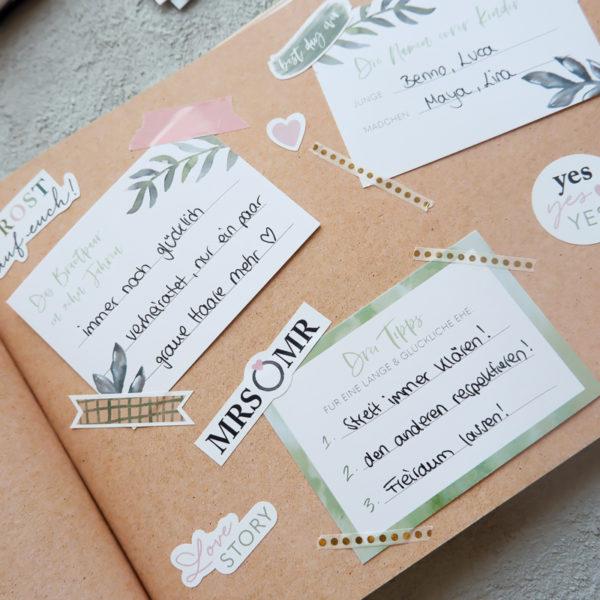 Gästebuch Kraftpapier mit Aufklebern